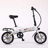 MDZZ Bicicleta electrica, Plegable montaña de la Bicicleta, 14' Bicicletas asistidas con Seguridad extraíble de Iones de Litio para Adultos del Viajero Viaje,Blanco