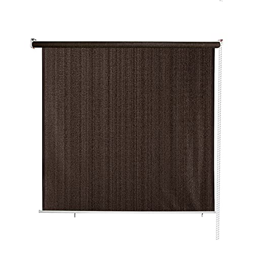 MEOOEM Sunshades Roller Shade Blinds 7.5' W X 8' H for Porch Pergola Balcony Patio Backyard Deck or Outdoor Spaces 95% UV Protection , Coffee