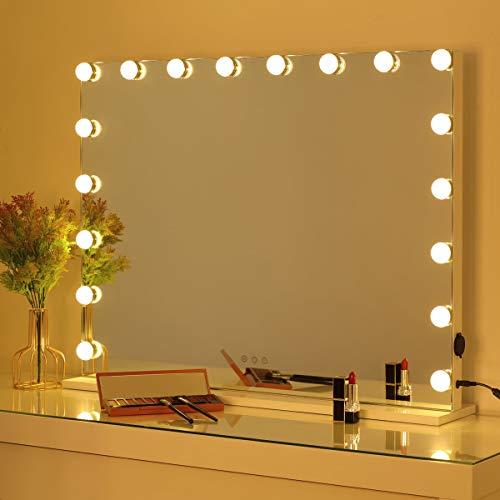 OUO Hollywood Espejo de tocador iluminado con luces LED para tocador de maquillaje