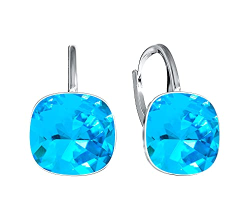 Victoria Kraft – Pendientes cuadrados – Colores variantes – Pendientes de plata 925 con cristales – Juego de joyas para mujer con piedras con caja de regalo, regalo de cumpleaños (Deep Blue)