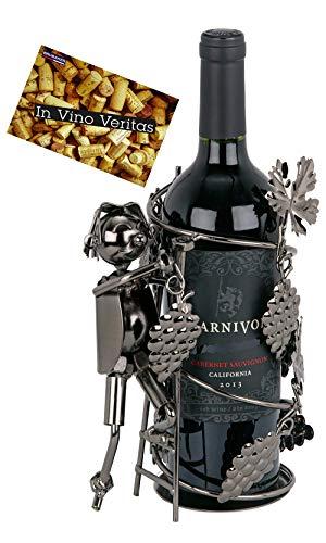 BRUBAKER Weinflaschenhalter Winzer - Flaschenständer Deko-Objekt aus Metall - Flaschenhalter Weinbauer mit Grußkarte für Weingeschenk