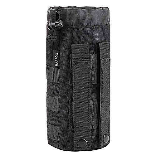Haafoo Molle Water Bottle Pouch, 1000D Nylon Tactical Molle Water Bottle Holder Tactical Water Bottle Pouch Bottom Mesh Lining Hydration Carrier for Camping, Climbing, Cycling, Hiking, Travelling