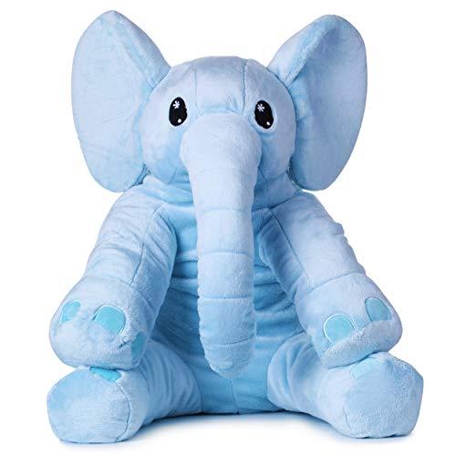 corimori® - Elefante Nio, Peluche Grande XXL para niños pequeños, Esponjoso y Suave, Calidad de Peluche Suave, 60 cm, Azul