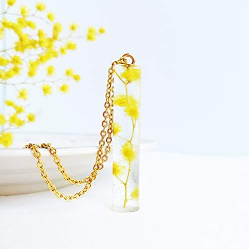 klarer Kristall Anhänger mit Goldkette, Gelbe Mimosen Blumen Halskette, Beste Freundin Geburtstag Geschenk