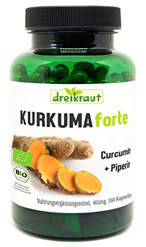 Kurkuma Forte Bio door dreikraut - Kurkuma + Curcumine 95% + Piperine, 160 veganistische Capsules, elk 465 mg, Duitse productie, uitgebalanceerd recept, vrij van toevoegingen, residu-gecontroleerd
