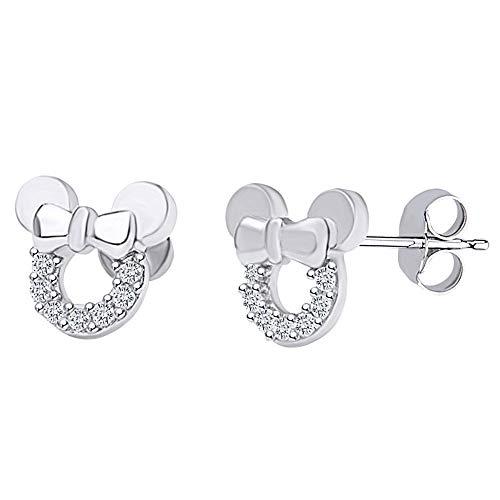 Pendientes de tuerca de Mickey Mouse de diamante D/VVS1, hermoso regalo para mujeres y niños en plata de ley 925 chapada en oro de 14 quilates