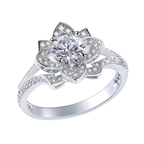 Newshe Jewellery Flower Wedding Engagement Ring for Women 2.24Ct Round Cz White Gold Plated Size 8