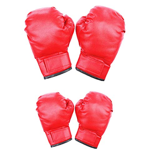 New Kid and Adult Boxing Gloves - 2 Pairs Fighting Gloves Kickboxing Gloves Training Sparring Gloves...