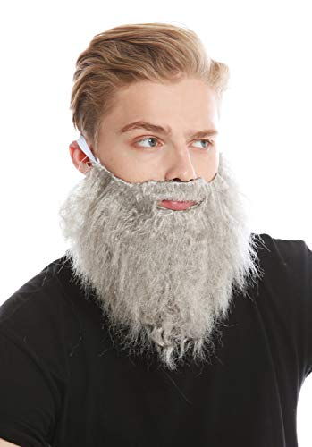 WIG ME UP - 9537B-ZA68R Bart Vollbart Grau Karneval Halloween Hipster Räuber Bandit Prophet Moses Gott
