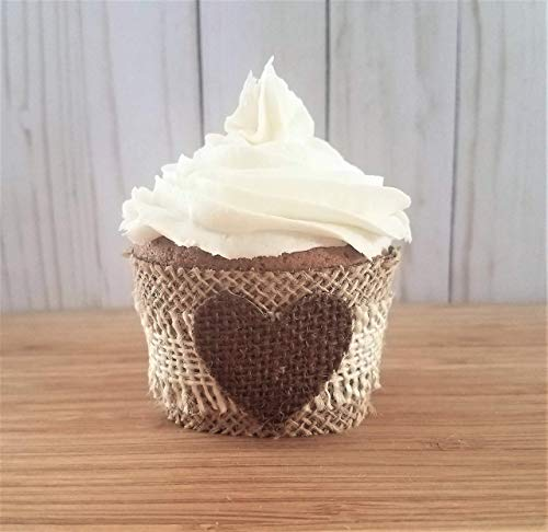 Fall Wedding Cupcake Wrappers, Burlap Cupcake Wrappers Bridal Shower, Wedding Cupcake Wraps, Rustic Fall Baby Shower Cupcake Wrappers, 12 Standard Size
