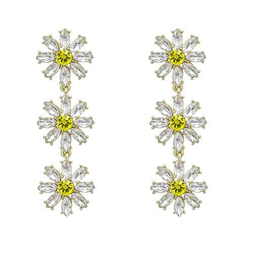 MoHHoM Earrings Women,Sweet Crystal Flowers Long Earrings Rhinestones Floral Earrings Party Jewelry Gifts For Girlfriend Charm Fashion Drop Dangle Earrings Jewelry For Women Ladies