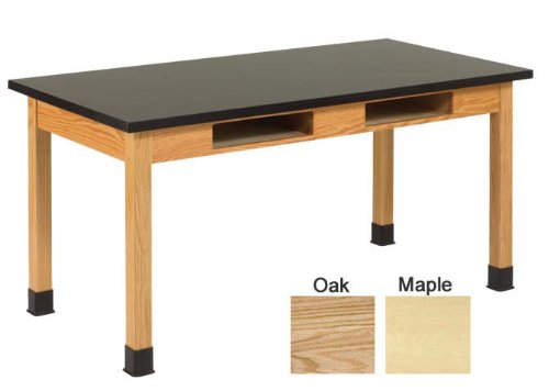 """Hot Sale Diversified Woodcrafts C7246K30L UV Finish Solid Oak Wood Table with Book Compartment and Epoxy Resin Top and Leg Braces, 72"""" Width x 30"""" Height x 36"""" Depth, 500lbs Capacity"""