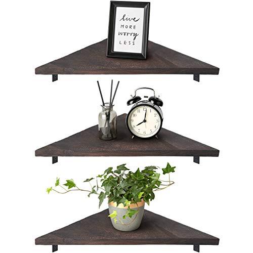 Mkono Corner Wall Shelf 3 Set Wood Floating Shelves with Brackets Rustic Organizer Displays Storage...