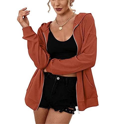 ZFQQ Otoño Mujer Casual suéter con Capucha pulóver Cremallera Chaqueta de Punto Chaqueta Abrigo Top