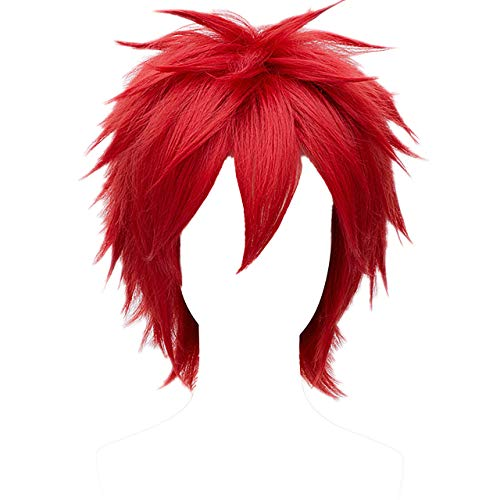 MSHUI Short Red Wig Anime Costume Cosplay Wigs