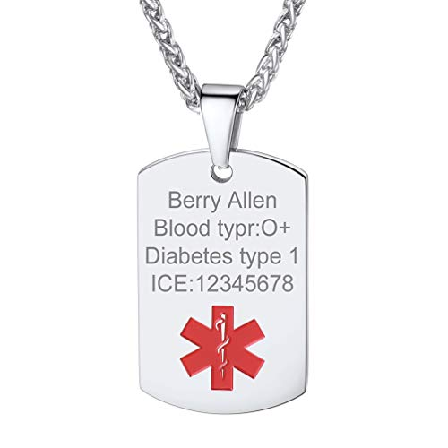 PROSTEEL Medical Alert Necklace Stainless Steel Dog Tag Pendant Necklace for Men Women Gifts Custom Medical ID Jewelry Gift