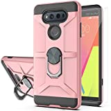 YmhxcY Compatible for LG V20/VS995/H990/LS997/H910 Case with HD Screen Protector,360 Degree Rotating Ring Kickstand Holder Dual Layers of Shockproof Phone Case for LG V20-ZS Rose Gold