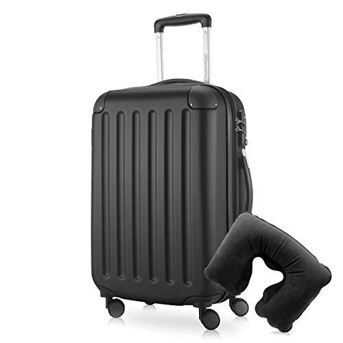 Hauptstadtkoffer - Spree Handgepäck Kabinentrolley Bordgepäck Hartschalen-Koffer, sehr leicht, TSA, 55 cm, 42L, Schwarz inkl. Reise Nackenkissen