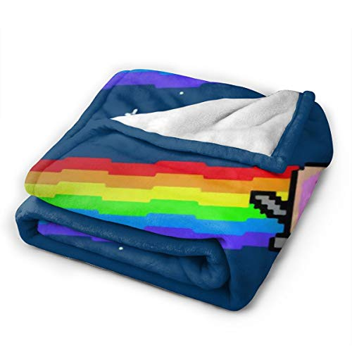 """~ Throw Blankets for Couch, Flannel Fleece Blanket, Ultra Soft Cozy Warm Throw Lightweight Blanket Microfleece Blanket for Home and Outdoors- Cute Nyan Cat (50""""X40"""")"""