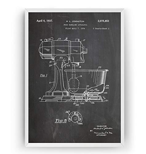 Küchenmischer 1937 Patent Poster - Jahrgang Drucke Drucken Bild Kunst Geschenke Zum Männer Frau Entwurf Dekor Vintage Art Blueprint Decor - Rahmen Nicht Enthalten