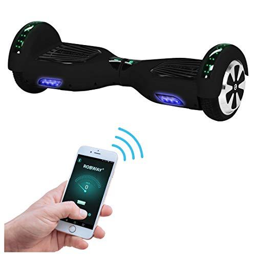 Robway W1 Hoverboard - Das Original - Samsung Marken Akku - Self Balance - 22 Farben - Bluetooth - 2 x 350 Watt Motoren - App - Led (Schwarz Matt)