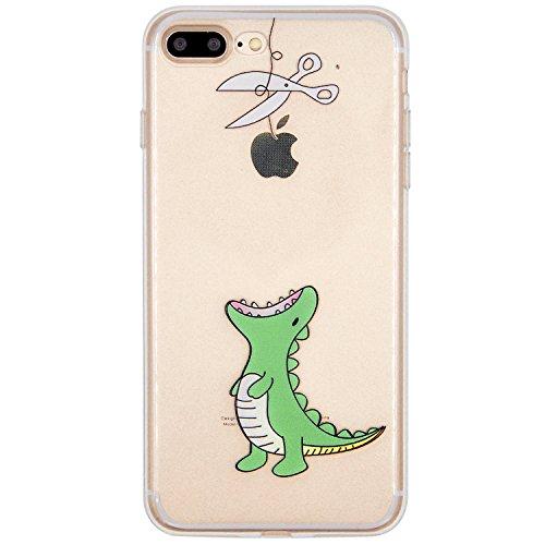 iPhone 7 Plus / 8 Plus Funda, OFFLY Transparente Soft Suave Cáscara, Grueso Fortalecer Protección Case Cover, Creativa Patrón Shell para Apple iPhone 7 Plus / 8 Plus - Dinosaurios