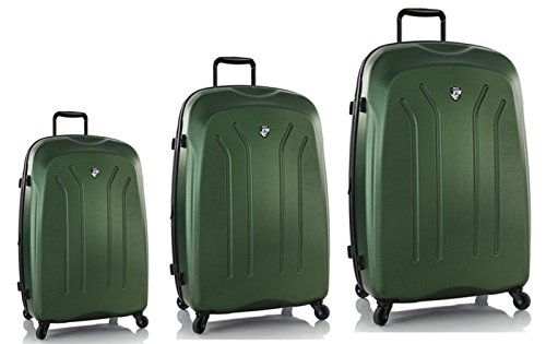 Luggage Sets Suitcases Carry-Ons by Heys - Premium Designer Hardside Luggage Set 3 pcs. - Heys Crown Lightweight Pro Green Hand Luggage+ Trolley with 4 Wheels Medium + Trolley with 4 Wheels Large