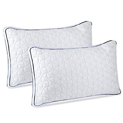 POPRUN Versnipperd Memory Foam Bed Kussen 2 Pack voor nekpijn, Bamboe Wasbare Cover, Verstelbaar Kussen voor Zijrug…