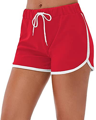 Little Beauty Athletic Elastic Waist Yoga Running Workout Dophin Shorts Red S