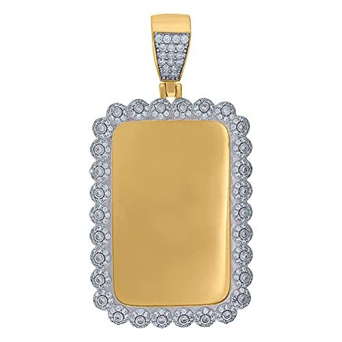 Collar con colgante de plata de ley 925 con circonita cúbica para hombre, diseño de animal y perro, medidas de 59,7 x 30, regalo de joyería para hombres