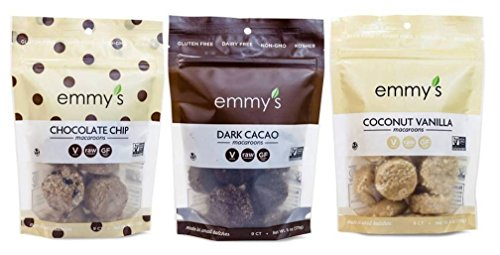 Emmy's Organics, Coconut Cookies - Variety Pack (Dark Cacao, Vanilla Bean, Chocolate Chip), 6 oz (Pack of 3)