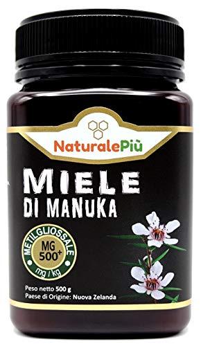 Miel de Manuka 500+ MGO 500g. Producida en Nueva Zelanda, activa y cruda, 100% pura y natural. Metilglioxial probado por laboratorios acreditados. NATURALEPIÙ