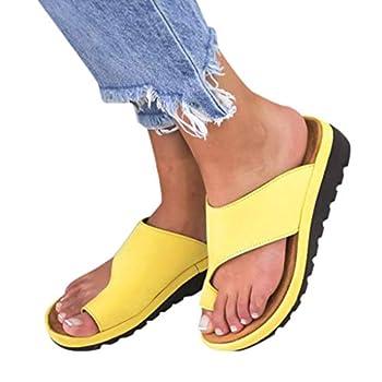 Aniywn Women Wedges Sandals Open Toe Comfy Platform Sandal Shoes Summer Beach Roman Shoes Flip Flops Slippers Yellow