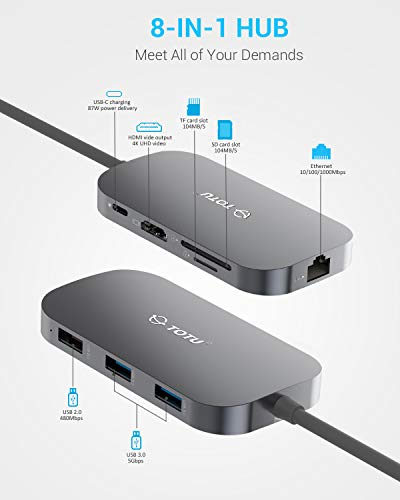 Usb c hub, totu 9-in-1 type c hub with ethernet port, 4k usb c to hdmi, 2 usb 3. 0 ports, 1 usb 2. 0 port, sd/tf card reader, usb-c power delivery, portable for mac pro and other type c laptops (silver) 2 multiport connection: totu usb c hub includes 1 ethernet/rj-45 port, 1 usb type-c female pd charging port, 1 hdmi port, 1 tf sd card slot, 1 sd card slot, 1 usb 2. 0 type a port, 2 usb 3. 0 type a ports. This usb c hub applies to all type-c laptops. Effortless data transfer: connect to your smartphone, tablet, hard drive or other usb peripheral via the usb 3. 0 ports and transfer date between computer and connected device, the usb 2. 0 port is better with mouse, keyboard or other low rate devices. Built in sd and tf slots for easy access to files from universal sd and micro sd memory card; support 2 cards reading simultaneously. 1000mbps ethernet port ensures a more stable and faster wired network connection. Power delivery: support pd charging at max 87w, this multiport usb c adapter provides one type-c pass through female port by which you could securely charge connected macbook or other type-c laptops.