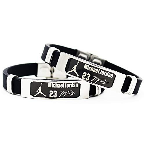 Brazalete Ajustable de Silicona de la Estrella del Equipo de Baloncesto de la NBA Pulsera Deportiva de Silicona 2 Piezas (Michael Jordan)
