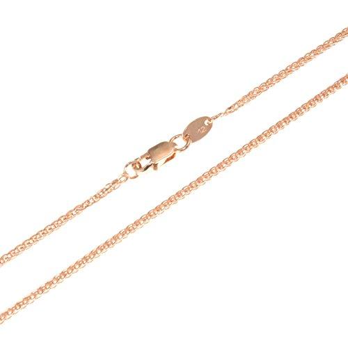 aion Goldkette Massiv Gold 585 Zopfkette Rotgold 14 Karat Halskette Herren Damen 40-60cm 1 mm (50)