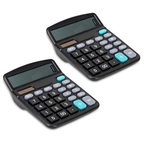 JZK 2 x Calculadora electrónica de sobremesa con energía solar y batería funcionamiento botón grande 12 dígitos pantalla LCD grande para casa oficina colegio financiar contador