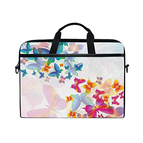 FOURFOOL 15-15.6 inch Laptop Bag,Colorful Flying Butterflies Fairy Tale Graphic Print Supernatural Home,New Canvas Print Pattern Briefcase Laptop Shoulder Messenger Handbag Case Sleeve