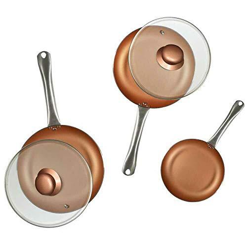True Face - Juego de sartenes de cobre para freír wok y sar