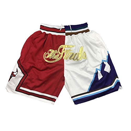 LUOP Bulls Männer Erwachsenen Basketball Shorts-Mesh Retro rot und weiß genähte Erwachsene Casual Fitness Sport Shorts aktives Training Jogging Shorts Geschenk-XXL