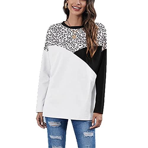 LYAZFC suéter de Manga Larga Holgado de Cuello Redondo Informal con Costuras geométricas de otoño e Invierno para Mujer
