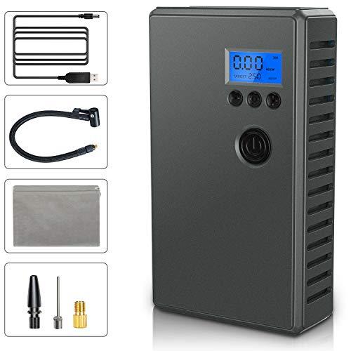 NIXIUKOL Compressore Portatile per Auto Compressore Aria con LCD Display e Batteria Ricaricabile 2000mAh, Pompa Elettrica 120PSI Mini Compressore per Moto, Auto, Bicicletta e Palla