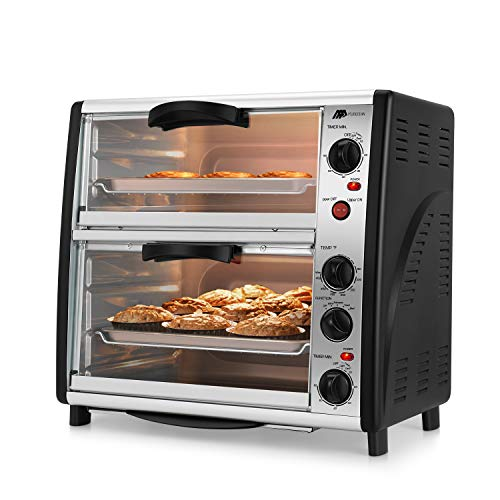 Flexzion Double Door Toaster Oven - 46QT Countertop Electric Cooker with Rotisserie Bake Broil Settings Timer & Temperature Control 1800W for Bake Broil Toast Kitchen, Stainless Steel Black
