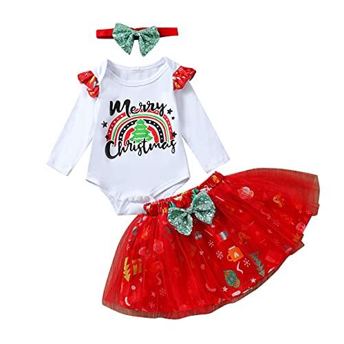 Conjunto de Ropa Estampada Navideña para Bebé, Mameluco de Manga Larga con Cuello Redondo + Falda Corta de Tul + Diadema con Nudo de Lazo (Blanco, 12-18 Months)