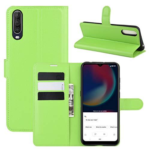 HualuBro Wiko View 4 Lite Hülle, Premium PU Leder Stoßfest Klapphülle Schutzhülle HandyHülle Handytasche Wallet Flip Hülle Cover für Wiko View 4 Lite Tasche (Grün)