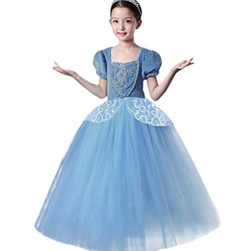 Mädchen Cinderella Kostüm Prinzessin Fee Cosplay Karneval Kleid Weihnachts Festlich Outfit Kinder Kurzarm Spitze Tüll Ballkleid Hochzeit Geburtstag Festzug Tutu Glanz Party Lang Festkleid Blau 4