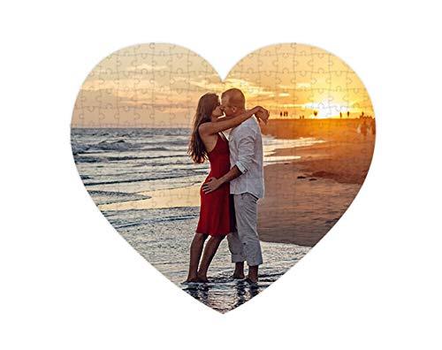 Puzzles personalizados 111 piezas Corazón con foto y texto | Máxima calidad de impresión | Tamaño: Corazón 111 piezas (35 x 31 cm)   Sin caja personalizada