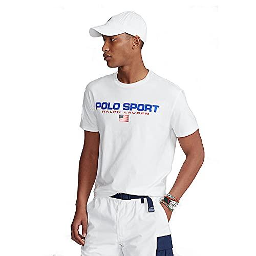 Polo Ralph Lauren Camiseta para Hombre Polo Sport 480620 (XL, White)