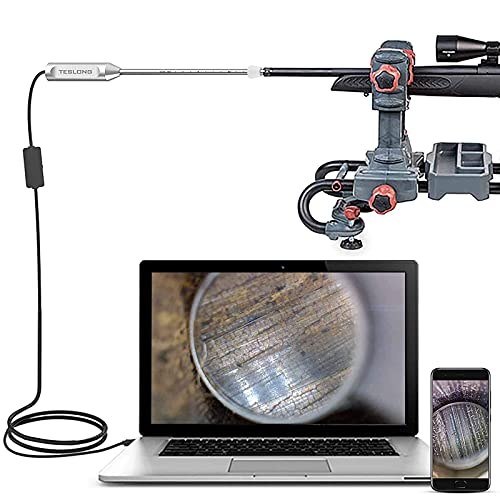 Teslong Rigid Rifle Borescope, Gun Cleaning Visual Inspection Camera w/26-Inch-Long Rod-Fits .20 Caliber&Larger Hunting Shooting Firearms-Works with Android, Windows and MacBook(3 Mirrors Included)