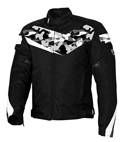 Jet Motorradjacke Motoradkleidung Rollerjacke Mopedjacke Herren Mit Protektoren Textil Winddicht Leicht Basic ECONOTECH (S (EU 46-48), Camo Grau)